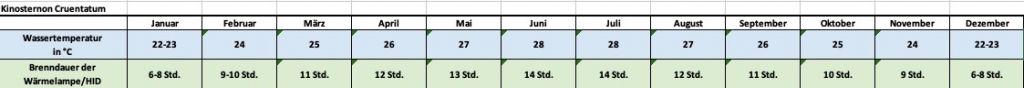 Angaben für jeden Monat zu Temperatur und Beleuchtung Kinosternon Cruentatum Rotwangen Klappschildkröte Temperatur Temperaturtabelle Brenndauer Leuchtdauer HQI HID Metalldampflampe