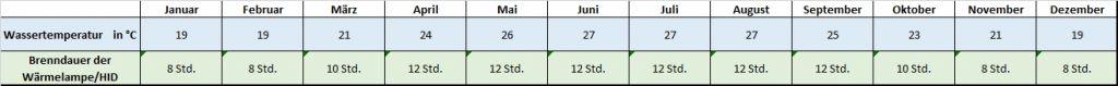 Angaben für jeden Monat zu Temperatur und Beleuchtung Mauremys mutica Gelbe Sumpfschildkröte Temperaturtabelle Temperatur Brenndauer Leuchtdauer HQI HID Metalldampflampe Monatsrythmus