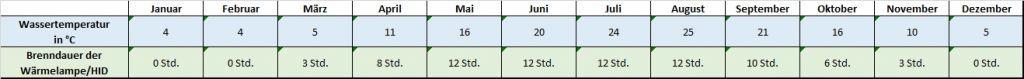 Angaben für jeden Monat zu Temperatur und Beleuchtung Mauremys japonica Japanische Sumpfschildkröte Temperaturtabelle Temperatur Wassertemperatur Leuchtdauer Brenndauer HQI HID Metalldampflampe