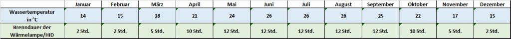 Angaben für jeden Monat zu Temperatur und Beleuchtung Pseudemys peninsularis - Halbinsel-Schmuckschildkröte / Peninsula-Schmuckschildkröte Temperatur Temperaturtabelle Leuchtdauer Brenndauer HQI HID Metalldampflampe Monatsrythmus